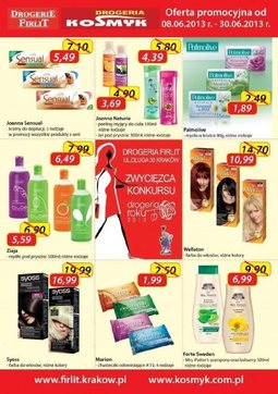 Gazetka promocyjna Drogeria Kosmyk, ważna od 08.06.2013 do 30.06.2013.