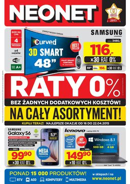 Gazetka promocyjna Neonet, ważna od 16.04.2015 do 22.04.2015.