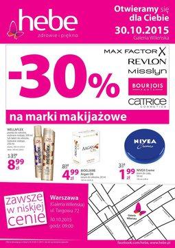Gazetka promocyjna Hebe, ważna od 30.10.2015 do 03.11.2015.