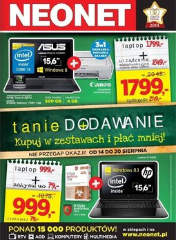 Gazetka promocyjna Neonet, ważna od 14.08.2014 do 20.08.2014.