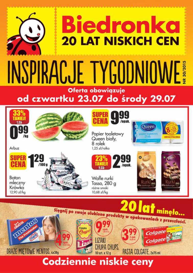 Gazetka sieci Biedronka, ważna od 2015-07-23 do 2015-07-29, strona 1
