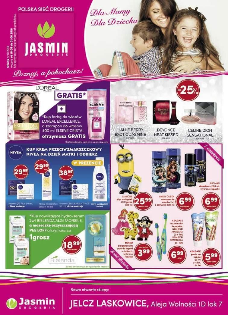Gazetka sieci Jasmin Drogerie, ważna od 2016-05-19 do 2016-06-01, strona 1