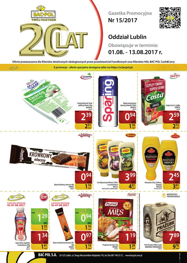 Gazetka sieci Bać-Pol, ważna od 2017-08-01 do 2017-08-13, strona 1