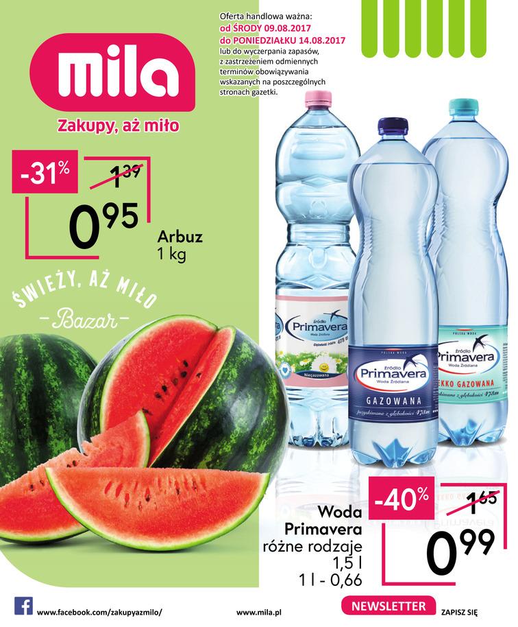 Gazetka sieci Mila, ważna od 2017-08-09 do 2017-08-14, strona 1