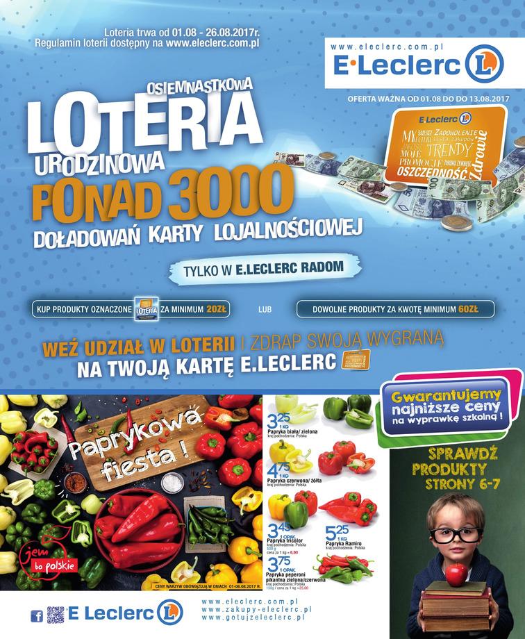 Gazetka sieci E.Leclerc, ważna od 2017-08-01 do 2017-08-26, strona 1