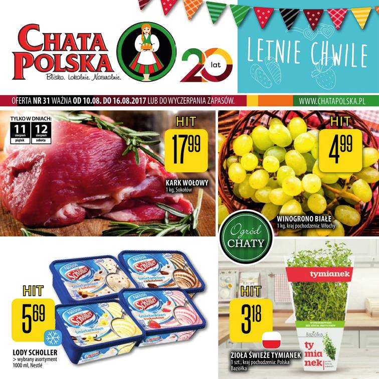Gazetka sieci Chata Polska, ważna od 2017-08-10 do 2017-08-16, strona 1
