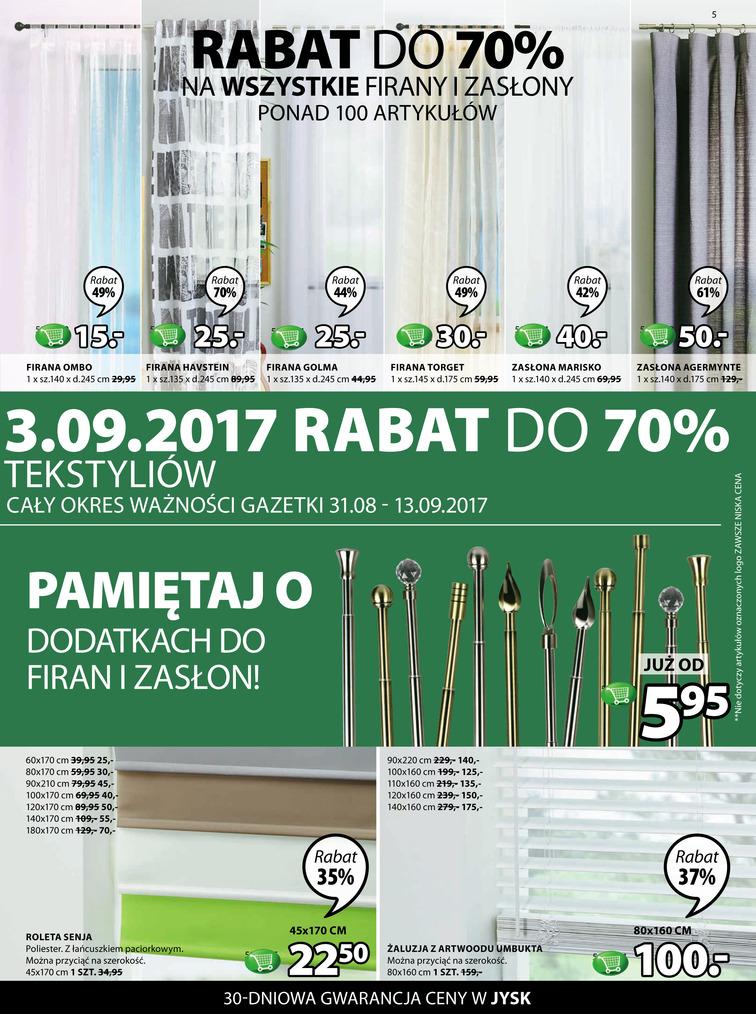 Gazetka sieci Jysk, ważna od 2017-08-31 do 2017-09-13, strona 5