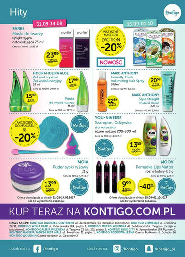 Gazetka promocyjna Kontigo, ważna od 31.08.2017 do 01.10.2017.