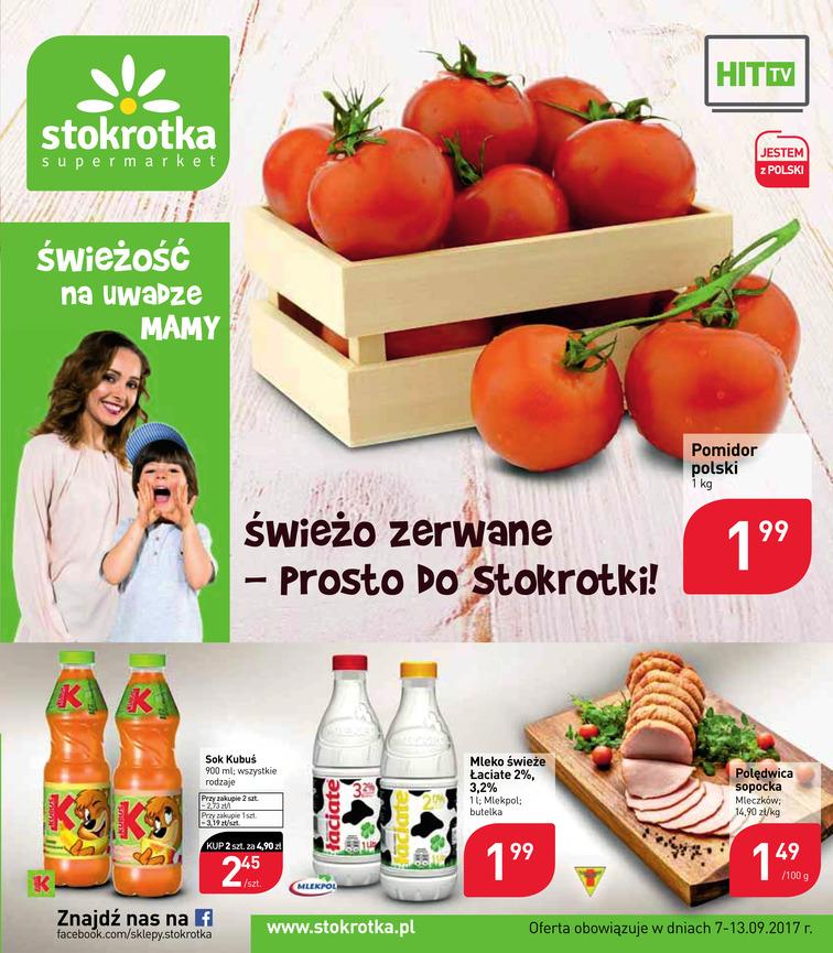 Gazetka sieci Stokrotka, ważna od 2017-09-07 do 2017-09-13, strona 1