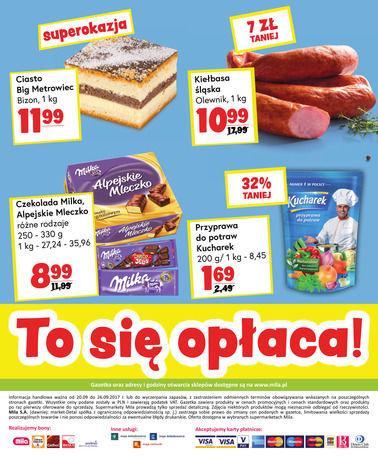 Gazetka promocyjna Mila, ważna od 20.09.2017 do 26.09.2017.