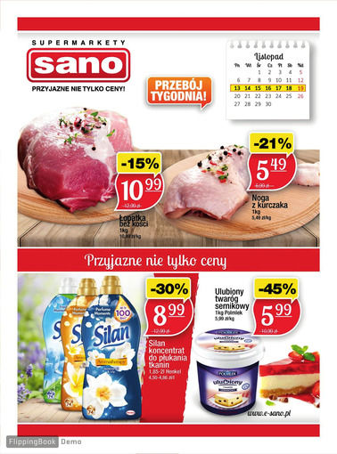 Gazetka promocyjna Sano, ważna od 14.11.2017 do 19.11.2017.