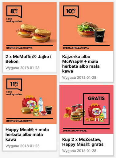 Gazetka promocyjna McDonald's, ważna od 01.01.2018 do 28.01.2018.